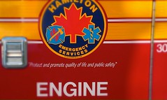 Hamilton Emergency Services ENGINE (Wendy J. Bush) Tags: life red ontario public yellow 30 truck emblem handle leaf quality hamilton engine safety fireengine firefighters outreach protect medics goodshepherd promote hamiltonemergencyservices hamiltonsfinest womenandchildrensservices protectandpromotequalityoflifeandpublicsafety