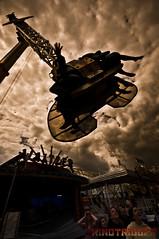 Thriller. (KINOTRIGGER) Tags: uk sea summer england people feet clouds fun pier dangerous nikon brighton ride angle legs fairground wide sigma wideangle rollercoaster screaming awe brightonbeach soe booster brightonpier eren sigma1020mm d90 kinotrigger wwwkinotriggercom ozkural erenozkural