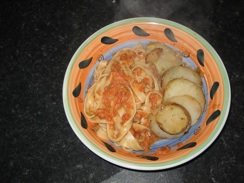 scalloped potatoes + pasta with a raw tomato sauce
