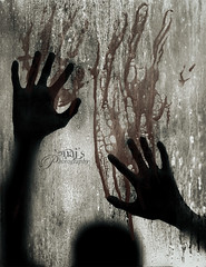 Help me!!!! (Naj ( Desired Hopes  )) Tags: bw copyright white black water glass rain silhouette night canon photography interesting blood hands killing silhouete help adobe jungle murder washed middle yelling yell processed 2009 murdered serial brutal naj najy sx110