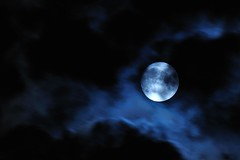 Blue Moon (hidesax) Tags: moon japan clouds nikon fullmoon saitama darkclouds bluemoon darksky ageo d90 hidesax vrzoomnikkored70300mmf4556g