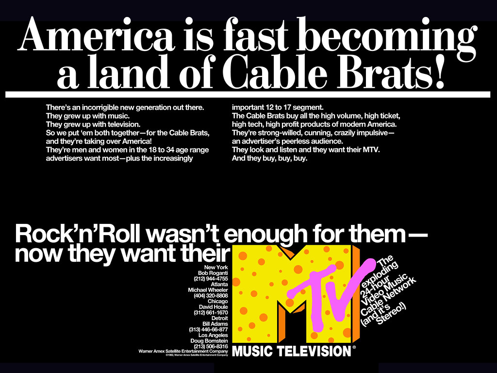 MTV trade advertising, 1982