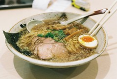 shoyu ramen (bobby stokes) Tags: food slr film lunch japanese soup egg bamboo meat pork ramen noodles analogue ラーメン nori