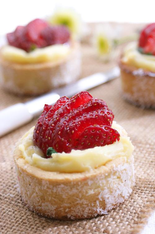 Coconut Strawberry petit tart