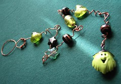 Green Witchy Dangle - a beaded Halloween decoration
