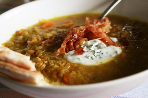 Spiced Lentil Soup with Lemon-Herb Yogurt and Bacon
