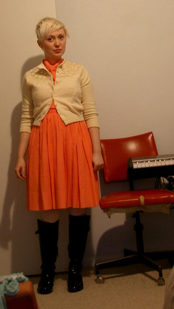 orange + sequins.