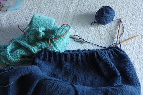 2 knitting wip's