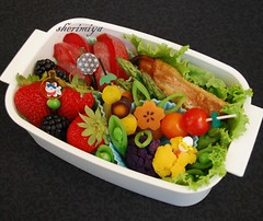 Salmon Misoyaki Bento (sherimiya ) Tags: school fish fruits yellow fruit lunch kid healthy purple sweet tomatoes sheri salmon plum strawberries potato homemade asparagus cauliflower bento carrots blackberries obento peapods firstgrader sherimiya