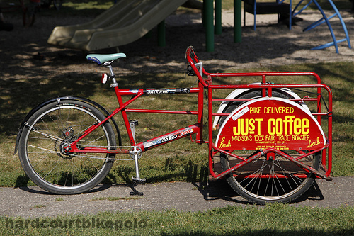 just coffee red trike delivery bike madison