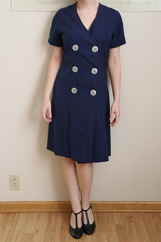 1920s Navy Nautical Double Breasted Dress