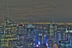 Top of the Rock New York City Manhattan Skyline Times Square (DiGitALGoLD) Tags: new york city building rock skyline night america square nikon shot time top manhattan bank f28 hdr d3 2470mm