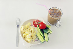 my kinda breakfast (Lee Bader) Tags: ice coffee breakfast tomato straw fork cucumbers scrambledeggs