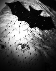 Bats (Hazeline Photography) Tags: blackandwhite net halloween hat fashion canon hair belt squirrel doll handmade brooch bat hats felt spooky curly wig blonde designs material accessories colourful netting bats millinery byathread niamhbuckley