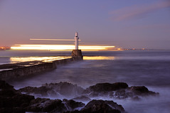 The south breakwater, Aberdeen, Scotland (iancowe) Tags: november lighthouse ferry night scotland pier rocks long exposure waves south scottish aberdeen beacon breakwater gloaming northlink