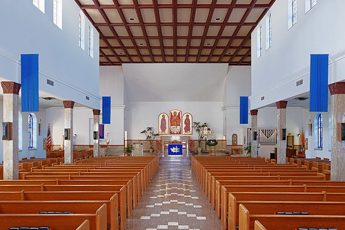 Saint Mary Roman Catholic Church, in Trenton, Illinois, USA - nave