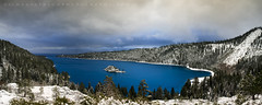 Azure Blue - Emerald Bay, Lake Tahoe, California (Jim Patterson Photography) Tags: pictures california longexposure blue sky panorama usa lake snow storm mountains clouds forest sunrise landscape photography bay natural photos pano tripod shoreline wideangle stormy laketahoe panoramic lee vista polarizer gitzo daybreak freshwater emeraldbay southlaketahoe reallyrightstuff fannetteisland nikkor1224mm graduatedneutraldensityfilter singhray goldnblue nikond300 markinsm20ballhead jimpattersonphotography jimpattersonphotographycom seatosummitworkshops seatosummitworkshopscom