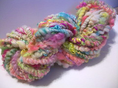 Aloha Handspun Art Yarn (FlutterbyFibers) Tags: art wool hand crochet knit sparkle yarn fabric mohair fiber weave roving handspun pulled