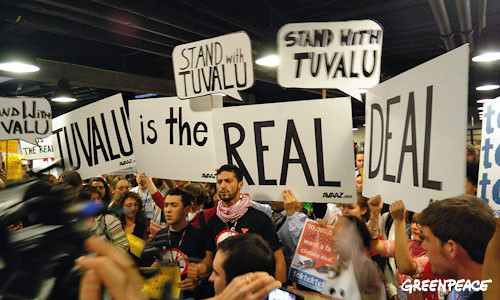 Stand with Tuvalu protest inside Bella Centre
