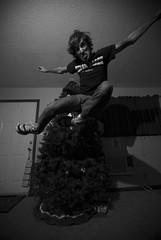 Dude, where's your board? (Sam Martin (abikeOdyssey)) Tags: christmas boy man tree flying jumping nikon sam angle action air flash flight wide sigma midair suspended 1020 ultrawide leap speedlight diffuser d60 stoffen speedlite superwide strobist sb400