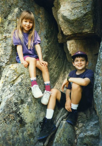 Christina (5) and Will (10) getting outdoors in the Black Hills of South Dakota, 19955.