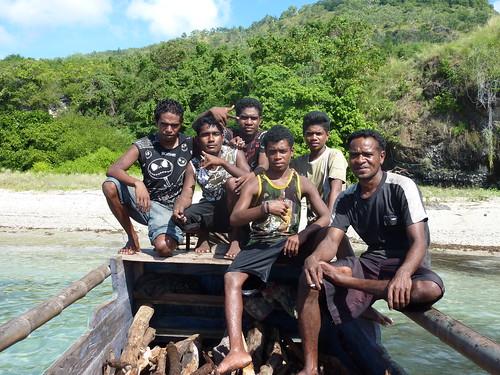 Alor Island - Boatmen at Pantar Island