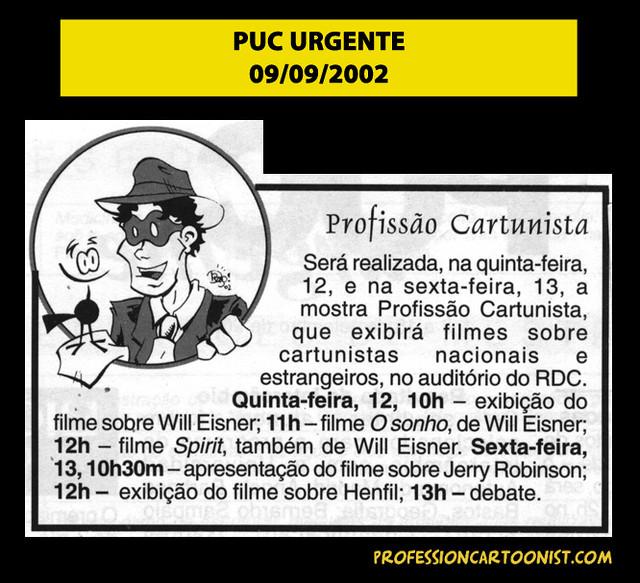 """""""Profissão Cartunista"""" - PUC Urgente - 09/09/2002"""