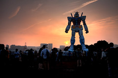 Preparing to Take the Night (TheJbot) Tags: sunset japan robot  odaiba gundam hdr jbot   11scale thejbot height18m weight25t giantgundaminjapan