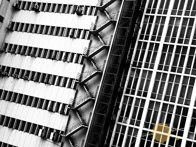 Makati Window and Fire Escape Patterns (Grainy Film BW)