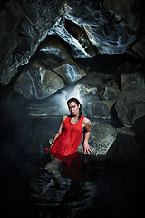 Red dress (LalliSig) Tags: pink blue red portrait people woman hot reflection green water girl fashion iceland spring gray portraiture grjtagj