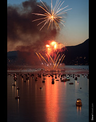 Light & Smoke Show (Steve Rosset) Tags: ocean show travel light sunset sea orange canada color colour reflection beautiful night vancouver america geotagged boats fire lights evening bc display fireworks outdoor vibrant smoke north explosion large floating grand columbia tagged celebration event british streaks geo hsbc extravaganza exciting steverosset steverossetphotography