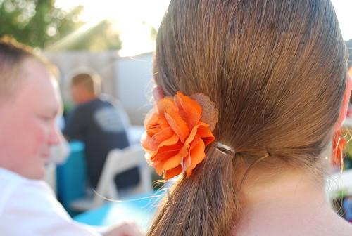 orange floral hair tie