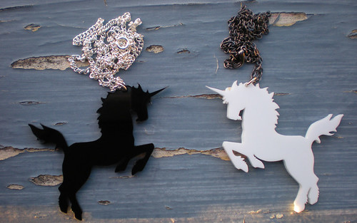 Black and White Laser Cut Unicorn Necklaces