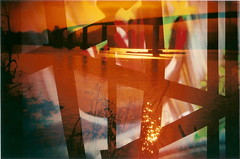Bridge (jasminfish) Tags: bridge brazil cats colors brasil boats island lomo lomography barcos mask ponte es ilha wrecked mscara vilavelha colorido lomografia gambiarra 3ponte experincia morrodomoreno redscale fujisuperiaiso100 praiadoribeiro muitascores holga135bc