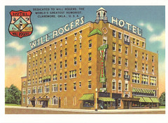 Route 66 Will Rogers Hotel Postcard (crayolamom) Tags: usa oklahoma vintage advertising hotel highway postcard ad 66 route northamerica ok willrogers claremore reprint