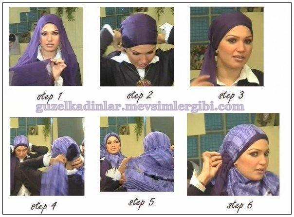 saç şalı hicab hijab şal bağlama modelleri başörtüsü bağlama teknikleri