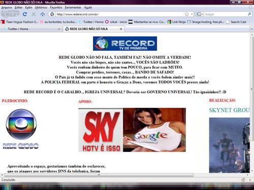 Site da Record foi invadido