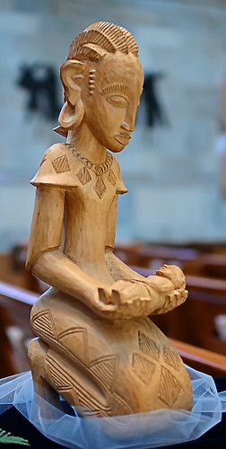 "Carved statue, ""Mother and Child"", made in Kenya, from the collection of the Marianum, photographed at the Cathedral of Saint Peter, in Belleville, Illinois, USA"