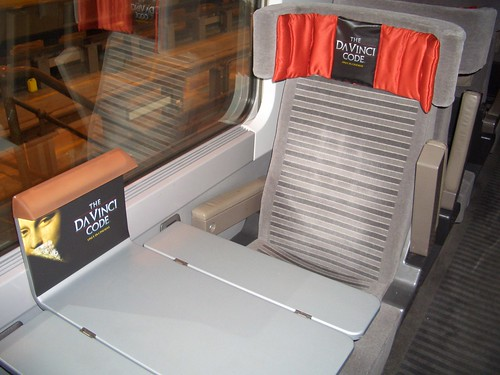 A branded Eurostar interior (UK / France / Belgium) - Location for 'Da Vinci Code' movie launch