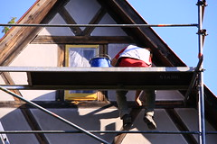He is restoring the filling of the half-timbered construction (:Linda:) Tags: people man museum architecture work germany thringen village adult timber thuringia sit job freilichtmuseum halftimbered fachwerk roofer timberframing dachdecker timberconstruction formermonastery erwachsener ruralmuseum klostervessra rooftiler ehemaligeskloster