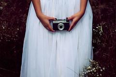 Capture The Moment ({peace&love}) Tags: camera flowers wedding white black lauren girl field lomo weeds holding pretty dress purple nailpolish smena nahds pinkparis1233