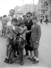 Brighton donkey (Nad) Tags: brighton england donkey stuffed miserable whinge family bw shorts boys brothers glasses front suit mother father knees street