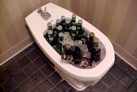 Toilet beer botle storage