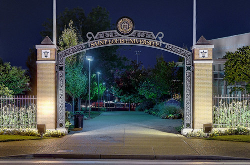 Entry Gateway to Saint Louis University, in Saint Louis, Missouri, USA - view at night