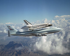 Hitching a Ride (Review of U.S. Human Space Flight Plans Committee) Tags: clouds nasa discovery spaceshuttle 747 sts114