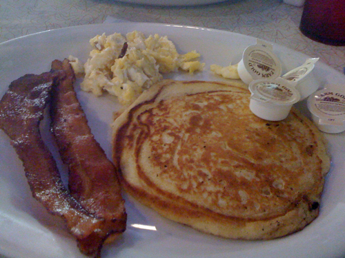 Bacon, pancake and eggs from Arcade