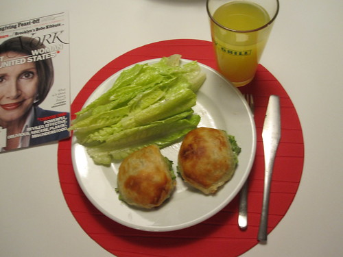 Broccoli turnovers, salad Orangina