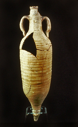Wine amphora from tomb 217 of cemetery 4 at Gebel Adda (Egypt), dated to early Byzantine times (the Ballana Period of Lower Nubia, 4th-early 6th c. AD). Photograph courtesy of W. Pratt and the Royal Ontario Museum (Egyptian Dept. no. 65:3:63).