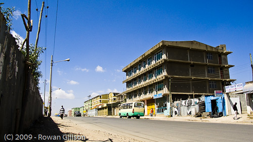 One of the better roads in Addis Ababa, Ethiopia.