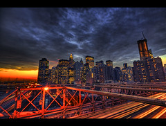 (hans jesus wurst) Tags: nyc newyorkcity sunset red usa photoshop lights manhattan border brooklynbridge hdri lucisart photomatix sundwon tonemapping 3exposures 3exp highdynamicrangeimage nighttrails canoneos400d sigma1020mm1456dchsm hansjesuswurst moritzhaase